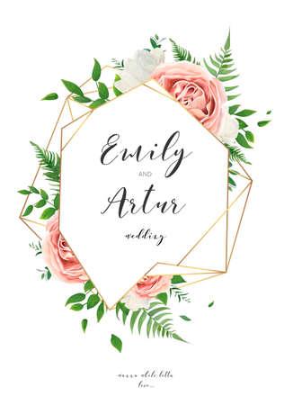 Huwelijksuitnodiging, bloemen uitnodigingskaart ontwerp met romige witte tuin pioenroos bloemen, blozen roze rozen, groene bladeren, groen varen en gouden geometrische frame decoratie. Vector elegante illustratie