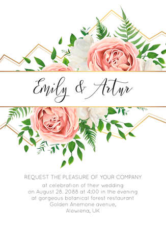 Wedding floral invite, invtation card design. Watercolor style blush pink roses, white garden peony flowers, green leaves, greenery fern & golden geometrical border. Vector art elegant classy template  イラスト・ベクター素材