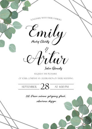 Wedding floral watercolor style invitation, invitation, save the date card design with cute Eucalyptus tree branches with greenery leaves and silver stripes decoration. Vector elegant rustic luxury template