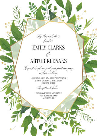 Wedding Invitation, floral vector invite save the date modern card Design: greenery leaves, forest greenery, herbs, natural plants, branches botanical decoration & geometrical golden transparent frame