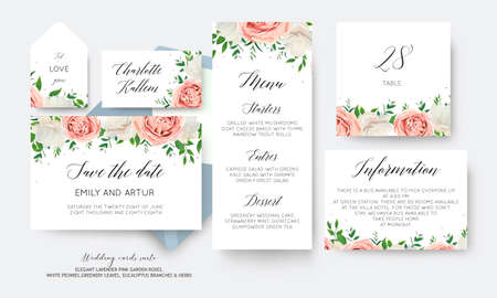Wedding floral prints of the day, menu, label, table number card big green flower, greenery herbs decoration. Romantic set