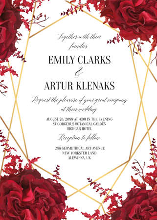 Wedding floral invite, invtation card design. Watercolor marsala red garden rose blossom, amaranthus flower, burgundy seeds, geometrical golden decorative frame. Vector elegant bohemian style template