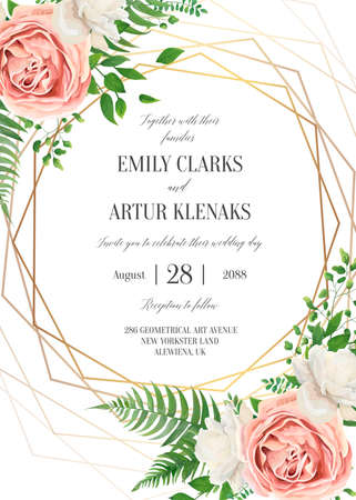 Wedding floral invite, invtation card design. Watercolor lavender pink rose, white garden peony flowers blossom, green leaves, greenery fern leaves & golden geometrical frame. Vector romantic template Çizim