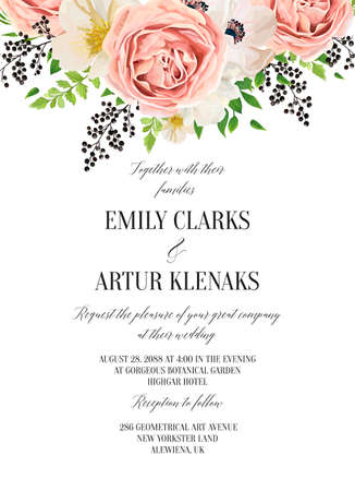 Wedding floral watercolor invitation, save the date card design with blush pink roses, creamy, white anemones, magnolia flowers, forest green fern leaves greenery and berries decoration. Vector layout Çizim