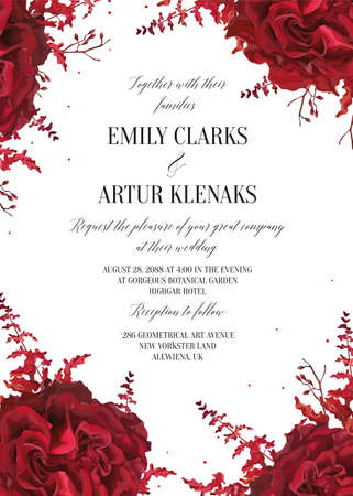 Wedding floral invite, invtation card design. Watercolor marsala red garden rose blossom, amaranthus flower & burgundy eucalyptus seeds decorative frame, border. Vector elegant bohemian style template Çizim