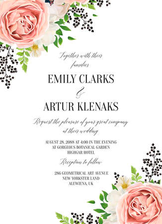 Wedding floral watercolor invite, invitation, save the date card design with pink garden rose, white anemones, magnolia flowers, green fern leaves & black berries frame. Vector elegant modern template Çizim