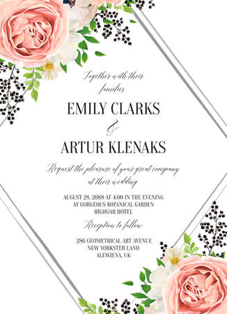 Wedding floral watercolor style invite, invitation, save the date card design with pink garden rose, white anemones, magnolia flower, green fern leaves & black berries frame. Vector, romantic template
