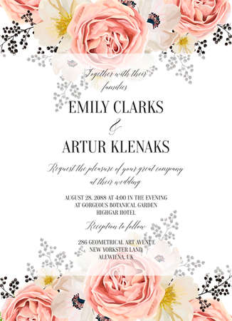 Wedding floral watercolor invite, invitation, save the date card design with lavender, pink garden rose, white anemones, magnolia flowers & black berries transparent decorative border. Vector template  イラスト・ベクター素材