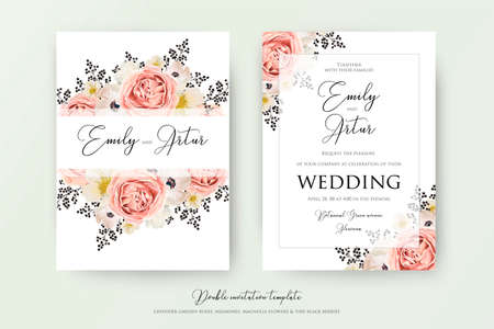 Wedding floral double watercolor invite, invitation, save the date card design. Pink peach garden rose, white anemones, magnolia flowers & black berries, transparent decorative border. Vector template
