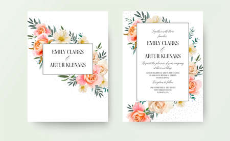 Wedding floral invite, invitation card design: garden pink peach, orange Rose, yellow white Magnolia flower, Eucalyptus, green Olive tree leaves decorative pattern. Romantic vintage cute vector layout