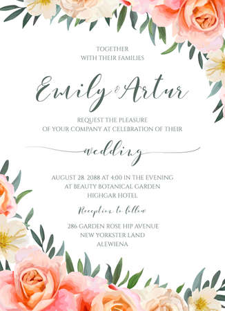 Wedding floral invite, invitation card design with garden pink peach, orange Rose, yellow white Magnolia flower, Eucalyptus, green Olive tree leaves wreath bouquet frame border. Romantic vector layout