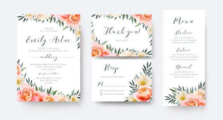 Wedding floral invite, thank you, rsvp menu card design with garden pink peach, orange Rose, yellow white Magnolia flower, Eucalyptus, green Olive tree leaves wreath decoration. Romantic vector layout Vectores