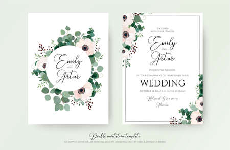 Wedding Invitation, floral invite modern card Design: light pink anemone flower, green eucalyptus greenery branches, thyme leaves & berries wreath & frame pattern. Vector, elegant, watercolor template  Çizim