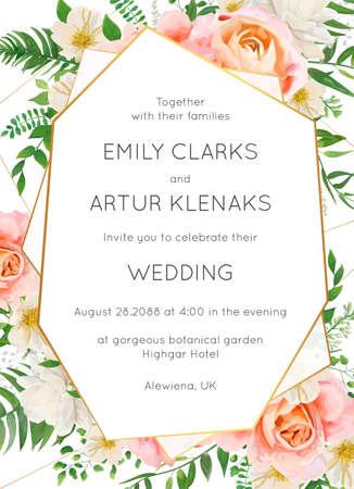Hochzeitseinladung, Einladungskarte Blumenmuster. Garten rosa Pfirsichgarten Rosenblume, weiße Magnolienblüten, Waldgrün, grüne Farnblätter & goldener geometrischer Rahmen. Elegantes Luxusvektorlayout