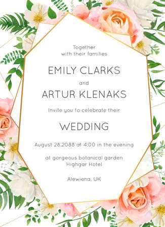 Wedding invite, invitation card floral design. Garden pink peach garden Rose flower, white Magnolia flowers, forest greenery, green fern leaves & golden geometrical frame. Elegant luxury vector layout