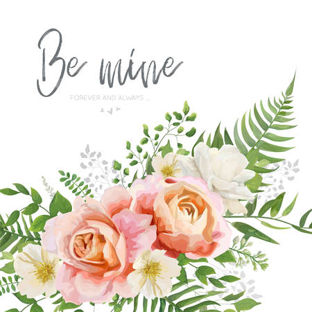 Vector wedding invite, greeting card design with floral watercolor bouquet with garden pink peach, orange Rose flower, white Magnolia, forest greenery fern leaves, herbs. Beautiful romantic  template Illustration