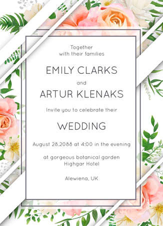 Wedding invite invitation card floral design. Garden pink peach garden Rose flower, white Magnolia flowers, forest greenery, green eucalyptus leaves & modern stripe decoration. Elegant vector template
