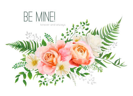 Vector wedding invite, greeting card design with floral watercolor bouquet. Garden pink peach, orange Rose, yellow white Magnolia flower, forest greenery fern leaves, herbs. Elegant desorative element