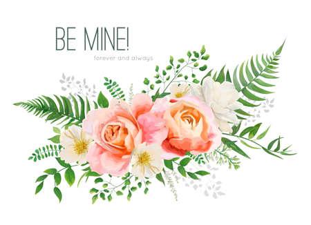 Invito a nozze di vettore, disegno della cartolina d'auguri con bouquet floreale dell'acquerello. Pesca rosa da giardino, rosa arancione, fiore di magnolia bianco giallo, foglie di felce nel verde della foresta, erbe aromatiche. Elegante elemento desorativo Vettoriali