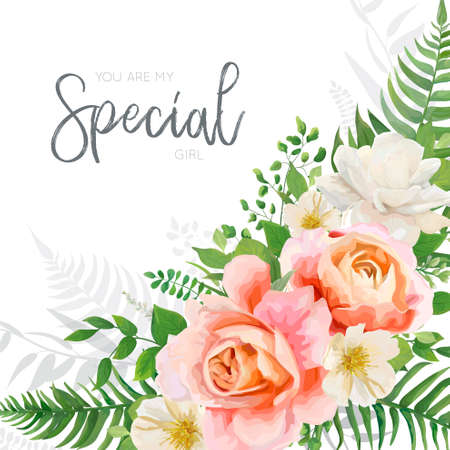 Vector wedding invite, invitation, greeting card design with floral, hand drawn watercolor style bouquet with garden pink peach Rose flower, white Magnolia, forest greenery fern leaves. Elegant layout Çizim