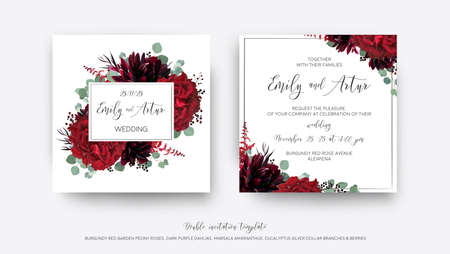 Wedding vector Floral invite, invitation save the date card  modern design: garden red rose flower, burgundy purple dahlia, eucalyptus greenery branches & berries decoration. Bohemian stylish template Çizim