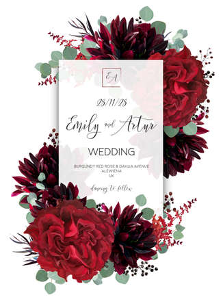 Wedding vector floral invite, invitation save the date card design. Red rose flower, burgundy dahlia, eucalyptus green border branches & berries boho frame, border. Bohemian stylish layout