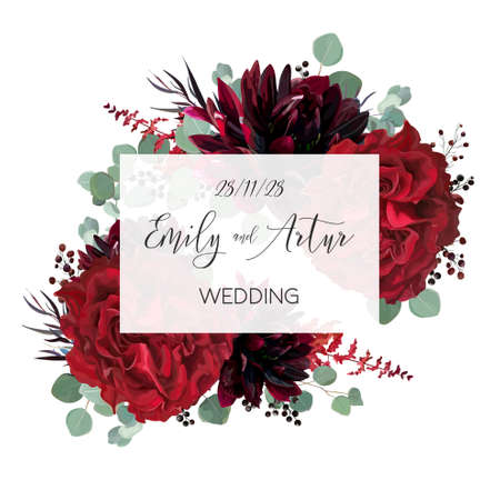 Wedding vector Floral invite, invitation save the date card vector design: garden marsala red rose flower, burgundy wine dahlia, eucalyptus greenery branches, berries. Bohemian classy stylish template