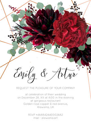 Wedding invite, invitation save the date card floral design. Red rose flower, burgundy dahlia, eucalyptus silver dollar branches, berries bohemian wreath with rose gold, copper geometrical decoration