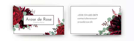Business card elegant modern design template. Watercolor hand drawn Red rose flowers, burgundy dahlia, eucalyptus branches, leaves, amaranthus & berries decoration. Vector, beautiful bohemian template Çizim