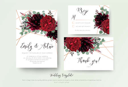 Wedding invite invitation, rsvp, thank you card floral design. Red rose flower, burgundy dahlia, eucalyptus silver dollar branches, berries wreath with rosy copper geometrical decoration. Bohemian set  Çizim