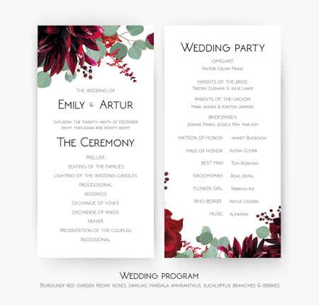 Programme de mariage pour la conception de cartes de fête et de cérémonie avec décoration de fleurs de rose rouge, de dahlia bordeaux, de branches d'eucalyptus, de feuilles, d'amarante et de baies. Vecteur, ensemble de modèles bohème beauté aquarelle Vecteurs