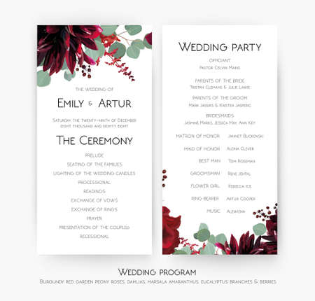 Wedding program for party & ceremony card design with Red rose flowers, burgundy dahlia, eucalyptus branches, leaves, amaranthus and berries decoration. Vector, watercolor beauty bohemian template set
