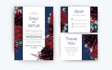 Wedding invite invitation, rsvp, thank you card floral color design. Red rose flowers, dahlias, eucalyptus silver dollar branches, berries wreath modern decoration. Bohemian burgundy and navy blue set Banque d'images - 112204466