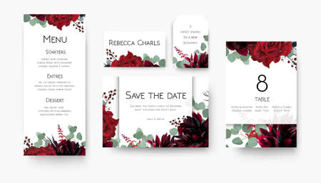 Wedding save the date, menu, label, table number, place cards floral design. Vintage vine Red rose flowers, burgundy dahlia, eucalyptus silver greenery branches & berries decoration. Bohemian chic set