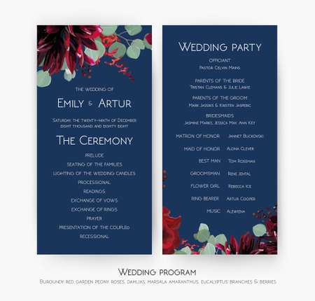 Wedding party & ceremony program card design with Red rose flowers, burgundy dahlia, eucalyptus branches, leaves, amaranthus & berries on navy blue background. Vector, elegant classy bohemian template Illustration