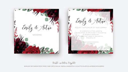 Wedding vector Floral invite, invitation save the date card design. Watercolor style drawn Red wine rose flower, burgundy dahlia, eucalyptus greenery branches, berries frame, border. Bohemian template