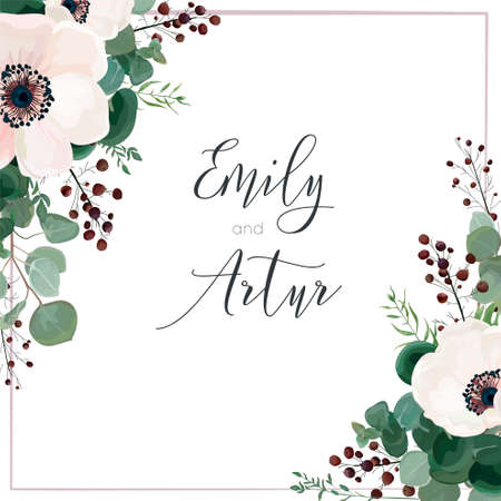 Wedding vector invite card, invitation, save the date, greeting. Floral design. Light pink Anemone flowers, silver dollar eucalyptus branches, berries & mauve frame. Elegant, tender, romantic template
