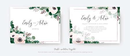 Wedding vector invite, double invitation card floral design. Light pink Anemone flowers, greenery eucalyptus branches, leaves, tender berries & mauve, transparent frame. Elegant, romantic template set