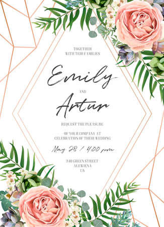 Wedding floral invite invitation card design. Lavender pink garden rose, green tropical palm leaf, succulent plant, greenery eucalyptus branch & rose gold geometrical frame decoration. Luxury template  イラスト・ベクター素材