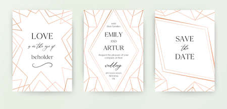 Wedding invite, invitation save the date card modern design with geometrical golden rose, copper, metallic foil classy decorative frame, border. Beautiful, abstract art. Trendy, luxury vector template  イラスト・ベクター素材
