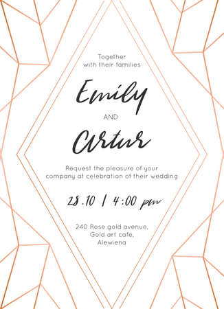 Wedding invite, invitation save the date card modern design with geometrical golden rose, copper, metallic foil classy decorative frame, border. Beautiful, abstract art. Trendy, luxury vector template 일러스트