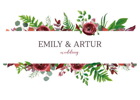 Wedding invite, invitation, save the date card. Vector floral bouquet frame design: red garden Anemone flower, burgundy & silver seeded eucalyptus branches, green fern & fall leaves. Elegant template Çizim