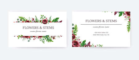 Business card, invite, save the date vector floral design template. Red garden Ranunculus flowers, seeded burgundy & silver eucalyptus branches, green fern & botanical greenery leaves watercolor frame