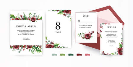 Wedding invite, invitation, save the date, rsvp stationery set. Vector floral design template. Watercolor Red garden Ranunculus flowers, seeded burgundy & silver sage eucalyptus branches & cute leaves 일러스트