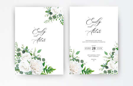 Wedding invite, invitation, save the date card. Vector floral frame design: ivory white powder peony Rose flower, Eucalyptus branch, greenery forest fern leaves, plants. Elegant romantic cute template 일러스트