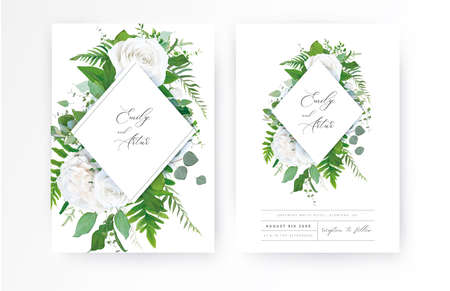 Wedding invite, invitation, floral save the date card. Vector ivory, white powder peony Rose flower, Eucalyptus branch, greenery forest fern leaves, asparagus watercolor illustration. Elegant template 일러스트