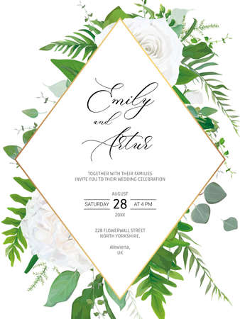 Wedding invite, invitation, save the date card floral design. Ivory white garden Peony Rose flower, Eucalyptus branch, asparagus fern leaves vector illustration & geometrical golden rhombus art frame.