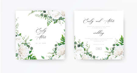 Wedding invite, invitation, save the date card set. Vector floral frame design: ivory white peony Rose flowers, Eucalyptus branch, greenery and forest fern leaves illustration. Elegant rustic template