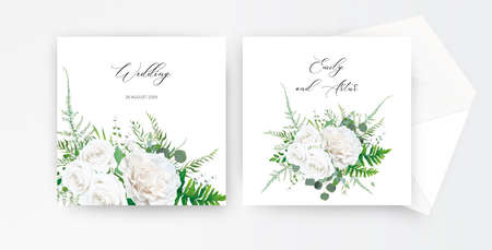 Wedding invite, invitation card floral design. Ivory white, powder peony Rose flower, Eucalyptus branch, greenery forest asparagus fern leaves botanical bouquet decoration. Tender, rustic template set