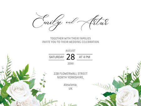 Wedding invitation, invite, save the date card with elegant floral vector art illustration. Watercolor garden ivory white peony roses, green eucalyptus branch, fern greenery. Botanical rustic template 免版税图像 - 151731050